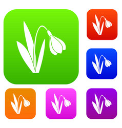 bell flower set collection vector image