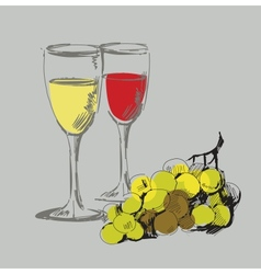 grape and glass vector image