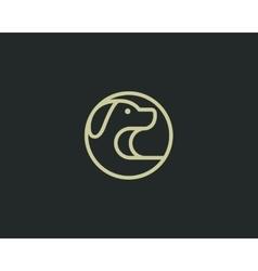 Linear puppy logo design template dog creative vector