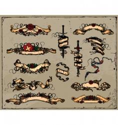 medieval ribbons vector image