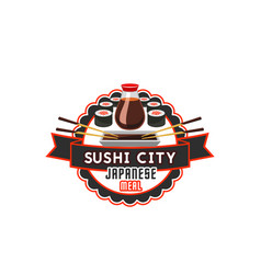 sushi icon for japanese cuisine restaurant vector image vector image