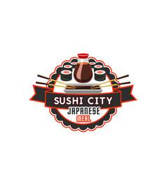 sushi icon for japanese cuisine restaurant vector image