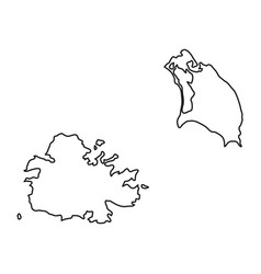 Antigua and barbuda map of black contour curves vector
