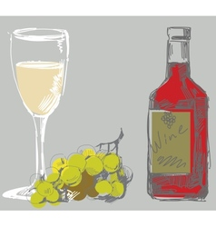 grape and wine vector image vector image