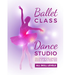 poster invitation in ballet school design vector image