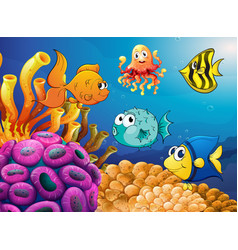 sea animals swimming under the ocean vector image vector image