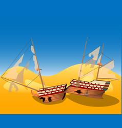 a broken ship on a deserted island vector image vector image