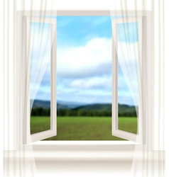 Background with an open window and a landscape vector image vector image