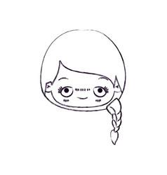 Blurred thin silhouette of kawaii head cute little vector