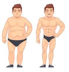 cartoon muscular and fat man guy before and after vector image