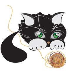 little black kitten playing with a ball of yarn vector image vector image
