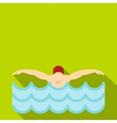 Man in red cap in swimming pool icon flat style vector image vector image
