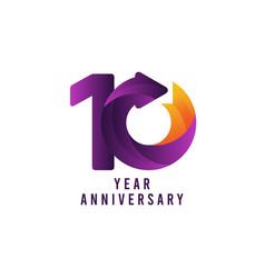10 years anniversary gradient purple template vector