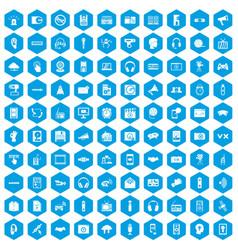100 audio icons set blue vector image