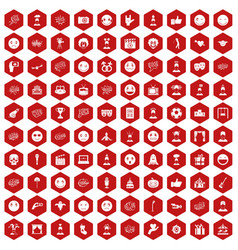 100 emotion icons hexagon red vector image