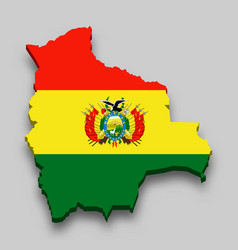 3d isometric map bolivia with national flag vector image
