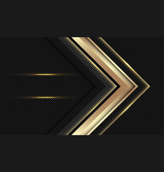 abstract gold arrow direction on black circle mesh vector image