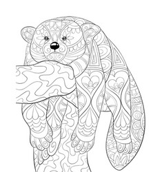 Adult coloring bookpage a cute beautiful animal vector