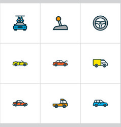 Automobile icons colored line set with steering vector