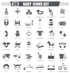 Baby black icon set Dark grey classic icon vector
