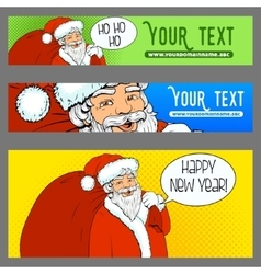 Banners ads Santa Claus pop art retro halftone vector