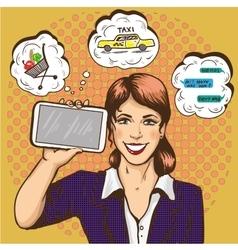Beautiful woman with smart phone comic pop art vector
