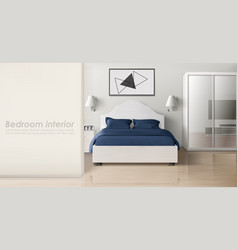 bedroom interior in monochrome colors modern home vector image