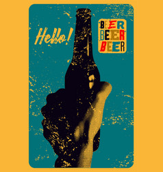 beer typographical vintage style grunge poster vector image