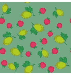 Berry and gooseberry cartoon seamless texture 647 vector