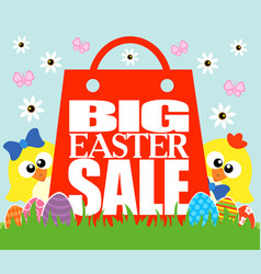 Big easter sale card funny chickens vector