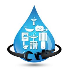 blue drop water and plumbing symbol vector image