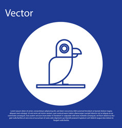 Blue line pirate parrot icon isolated on blue vector