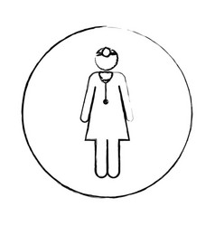 blurred circular frame silhouette pictogram female vector image