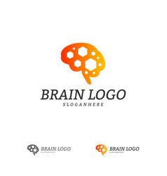 brain with hexagon logo template hexagon with vector image