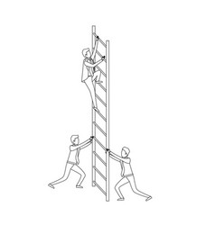 business men climbing wooden stairs monochrome vector image