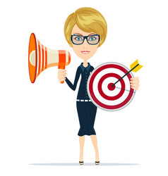 Business woman holding target and megaphone vector