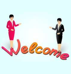 business woman with glasses invites to enter and vector image
