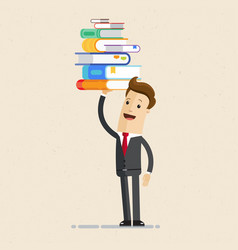businessman holding a lot of documents in his vector image