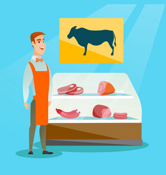 Butcher offering fresh meat in the butcher shop vector