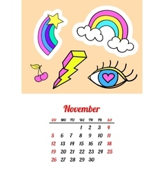 Calendar 2017 In cartoon 80s-90s comic style vector image
