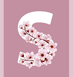 Capital letter s patterned with cherry blossom vector