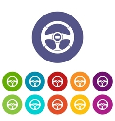 Car steering wheel set icons vector