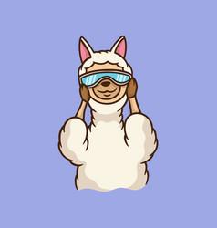 Cartoon animal design llama wearing glasses cute vector