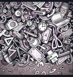 cartoon doodles design card graphics vector image