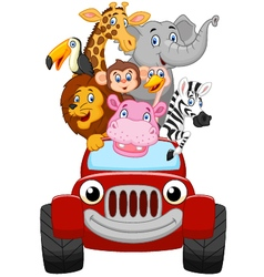 Cartoon happy animal with red car vector