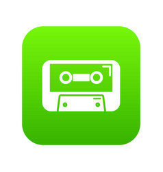 cassete tape icon green vector image