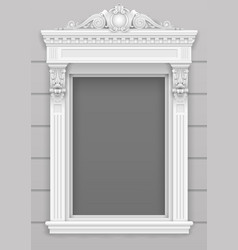 classic white architectural window facade frame vector image