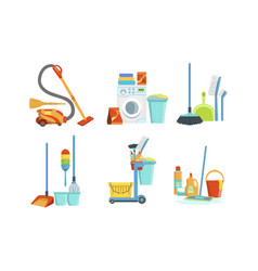collection cleaning equipment household vector image