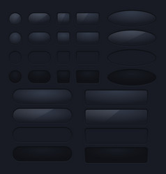 Collection of black buttons round square and vector