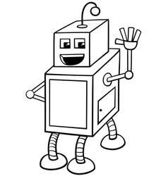 Cubical robot character coloring book vector